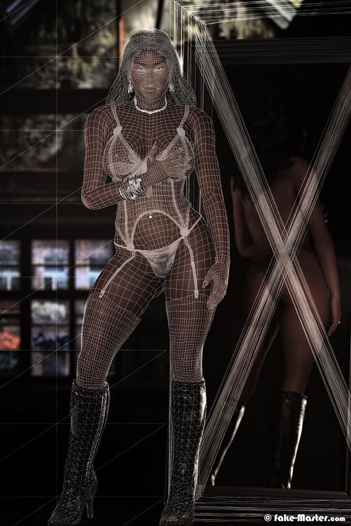 Expression d'Angèle recréée par Fake-Master d'après une photo de Julot Bandit