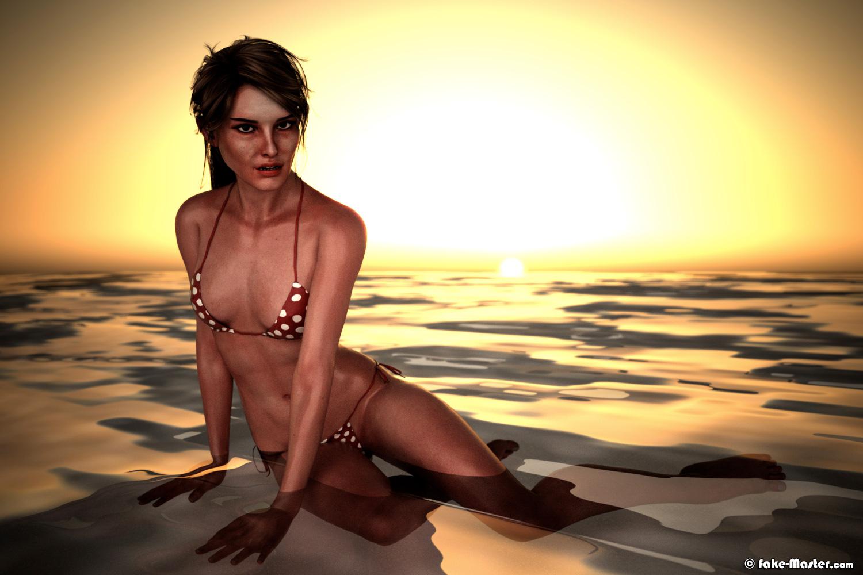 Erotic Natalie Portman in bikini by Fake-Master