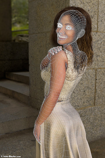 Dounia Coesens nue, réalisée en 3D par l'artiste Fake-Master