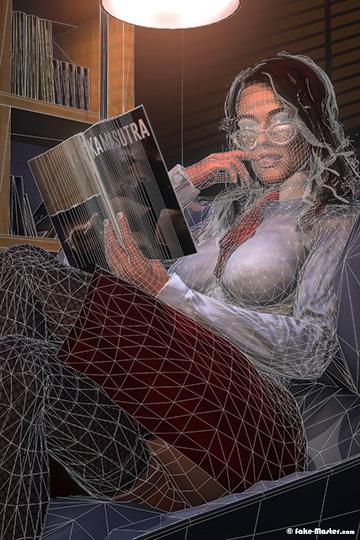 Diane Ducret nue, réalisée en 3D par l'artiste Fake-Master