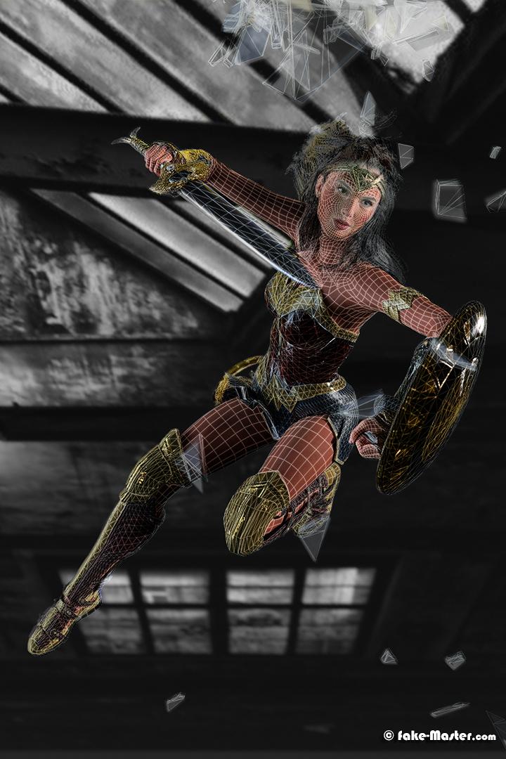 Oeuvre 3D collaborative Fake-Master & PhiBix à l'effigie de Wonder Woman - Gal Gadot